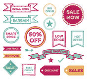 Set of Sale Labels. Discount price tags illustrations, they read Retail price, Bargain Big offer, Sale now, Smart price, Buy now!, Free shipping, Best choice, 50 stock illustration