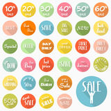 Set of sale labels icons. Design with long shadow, vector eps10 Royalty Free Stock Image