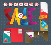 Set of sale labels. Illustration Stock Photo