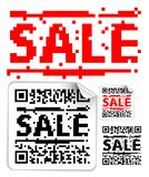 Set of sale labels with qr codes Stock Photo