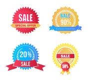 Set of Sale Labels Special Offer Laurel Branches. Set of sale labels special offer discounts with laurel branches elements, vector illustration premium promotion stock illustration