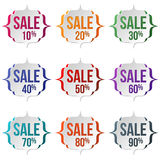 Set of sale labels on a white background. Sale, discount theme. Sale up to 90 percent text. Vector illustration Stock Photos