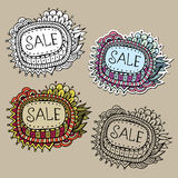 Set of Sale Nature vector Labels. Set of vintage hand drawn nature floral vector labels from your messages Stock Photography