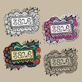 Set of Sale Nature vector Labels. Set of vintage hand drawn nature floral vector labels from your messages Royalty Free Stock Photography