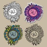 Set of Sale Nature vector Labels. Set of vintage hand drawn nature floral vector labels from your messages Stock Image