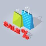 Set of Sale Online Shopping Hand Drawn Handbag Royalty Free Stock Images