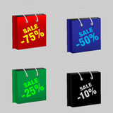 Set sale packages. Set colored packages with sales. Vector illustration Royalty Free Stock Image