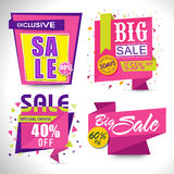 Set of Sale Paper Tags, Labels or Ribbon. Stock Images