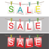 Set of sale papers fixed with pins Royalty Free Stock Photos