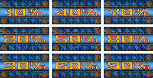 Set of sale percent labels on jeans Royalty Free Stock Photo