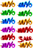 Set of sale percents. Set of inscriptions for a designation of percent Royalty Free Stock Image
