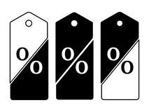 Set of sale price tags. Set of black and white price tags dissected in twain forming percent sign Sale and Discounts Concept. Vector illustration Royalty Free Stock Photos