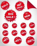 Set of sale red stickers. In shape drops Royalty Free Stock Photography