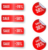 Set of sale red stickers. Set of red stickers with different discounts,  eps10 illustration Royalty Free Stock Photo