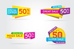 Set of Sale Sign Banner Poster ready for Web and Print. Vector. Royalty Free Stock Image