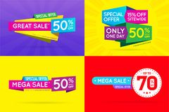Set of Sale Sign Banner Poster ready for Web and Print. Vector. Royalty Free Stock Photos