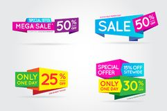 Set of Sale Sign Banner Poster ready for Web and Print. Vector. Stock Photos