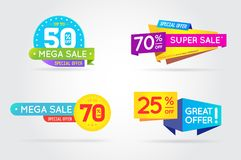Set of Sale Sign Banner Poster ready for Web and Print. Vector. Royalty Free Stock Images