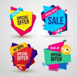 Set of Sale, special offer banner, up to 50% off. Vector illustration. Isolated on white background.  Royalty Free Stock Photos