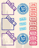 Set of sale stamps with percents Royalty Free Stock Image