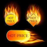 Set of sale stickers. Burning with fire design sale stickers and tags. Mesh. This file contains transparency Royalty Free Stock Image