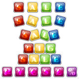 Set of sale stickers in colorful tile blocks Stock Images