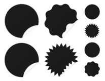 Set of sale stickers with curled corner. Sticky labels. Simple sun icons vector illustration