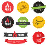 Set of sale stickers, elements and badges. Set of commercial sale stickers, elements and badges Stock Photography