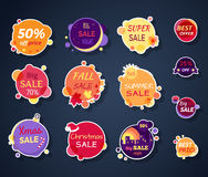 Set of Sale Stickers in Flat Design Stock Image