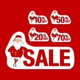 Set of red sale stickers. Santa Claus and 10%, 20%, 50%, 70%. Set of sale stickers. Santa Claus and 10%, 20%, 50%, 70% isolated on red background Royalty Free Stock Photography