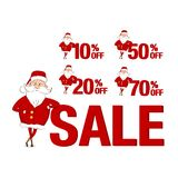 Set of sale stickers. Santa Claus and 10%, 20%, 50%, 70%. Isolated on white background Stock Photography