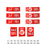 Set of sale tag circle banner ribbon paper - vector illustration Royalty Free Stock Image