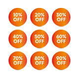 Set of sale tag. Fifty percent off. Vector. Set of sale tag with white text on orange circle shape with sun or star background. Percent off. Vector Royalty Free Stock Images