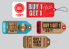 Set Of Sale Tag or Sale Labels or buy one get one Stock Image