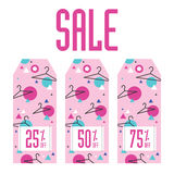 Set of sale tags. Different discount value Royalty Free Stock Photo