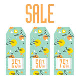 Set of sale tags. Different discount value Stock Image