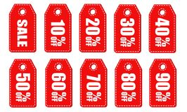 Set of Sale tags with Sale up to 10 - 90 percent. Vector illustration.  stock illustration