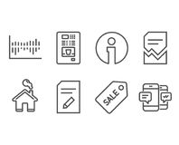 Sale ticket, Edit document and Coffee vending icons. Corrupted file, Column diagram and Smartphone sms signs. Set of Sale ticket, Edit document and Coffee Stock Photography