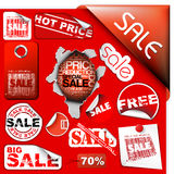 Set of sale tickets, labels, stamps, stickers Stock Images