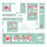 Set of sale valentines day web banner. Graphic element Good idea for retail flyer, special offer. Vintage background, advertising. Product poster, 50 percent stock illustration