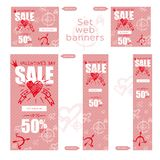Set of sale valentines day web banner. Graphic element Good idea for retail flyer, special offer. Vintage background, advertising. Product poster, 50 percent vector illustration