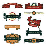Set of Sale Vintage Labels. Tags, banners and emblems illustrations, they read Premium Quality - Guaranteed, 100% Premium Quality, Members Only - Limited edition Stock Images