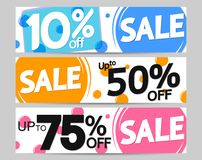 Set Sale web banners design template, up to 10% 50% 75% off, vector illustration. Set Sale web banners design template, up to 10% 50% 75% off, best promotions royalty free illustration