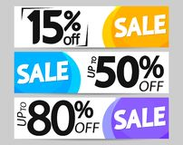 Set Sale web banners design template, up to 15% 50% 80% off, vector illustration. Set Sale web banners design template, up to 15% 50% 80% off, best promotions vector illustration