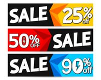 Set Sale web banners design template, up to 25% 50% 90% off, vector illustration. Set Sale web banners design template, up to 25% 50% 90% off, flash promotions vector illustration