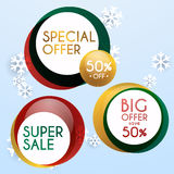 Set of sale xmas banners design, discounts and special offer. sh Royalty Free Stock Photography