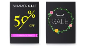 Set of sales posters with lettering design. Events of sales discount action with spring, summer flowers and handwritten. Doodles. Fifty percent off. Hand drawn Stock Photo