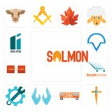 Set of salmon, church cross, , two hands, spanner, bookstore, turn, v circle, lorem ipsum icons. Set Of 13 simple  icons such as salmon, church cross, , two Stock Images