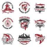 Set of salmon fishing emblems. Design elements for logo, label, Stock Photos