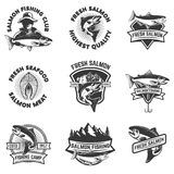 Set of salmon fishing emblems. Seafood. Design elements for logo Stock Images